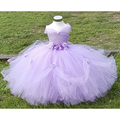 2-8Y  Flower Girl Princess Dress Kid Party Pageant Festival Wedding Bridesmaid Tutu Dresses Pink Lavender Fancy Ball Gown PT153