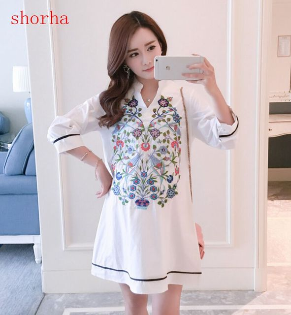 Maternity Blouse Shirt Clothes Pregnancy Wear Tops Tees Clothing White Floral Embroidery Clothes For Pregnant Women