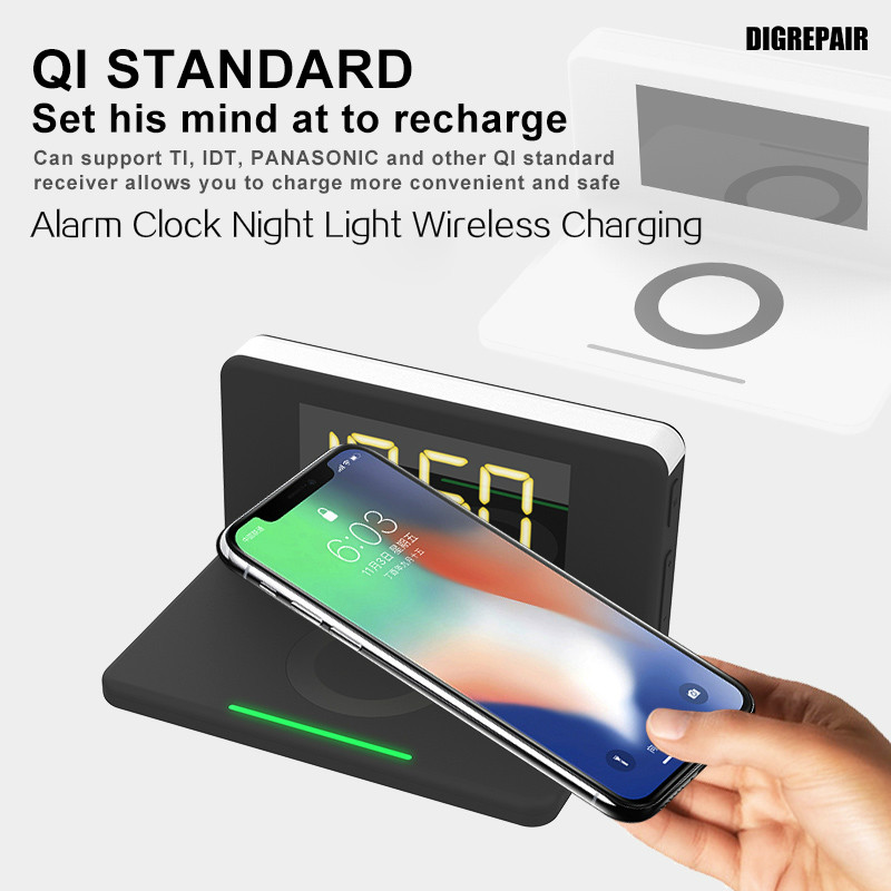 Fast 3-In-1 Qi Wireless Charger Dock for IPhone Samsung Wireless Charging LED Display Alarm Clock Adjustable Home Night Light