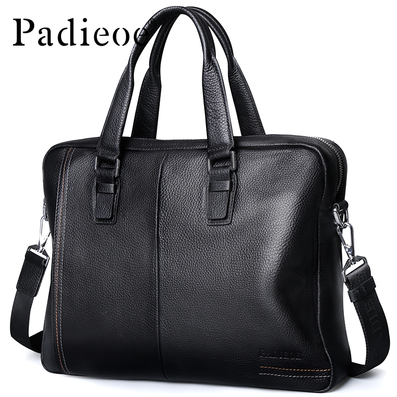 Padieoe Luxury Genuine Leather Bag Business Men Briefcase Laptop Bag Brand Handbag Shoulder Bags padieoe luxury men bag split leather classic business men briefcase laptop bags brand handbag