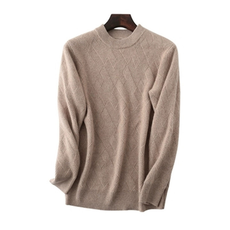Pure Cashmere Knit Men Smart Casual Oneck Loose Thick Pullover Sweater Solid Color S-3XL
