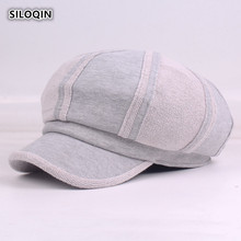 SILOQIN Womens Autumn Winter Cotton New Style Newsboy Caps Leisure Trend Simple Color Matching Tongue Cap Woman Hat