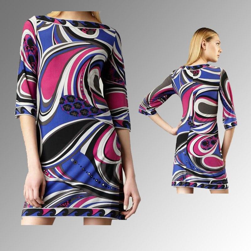 Kadın Giyim'ten Elbiseler'de Kadın yeni Slash boyun soyut baskı yarım kollu streç örme ipek jarse ince elbise'da  Grup 1