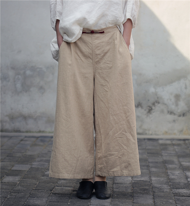 Spring 2019 retro Ninth trousers New Crocheted Wide straight Pants loose Pantalones