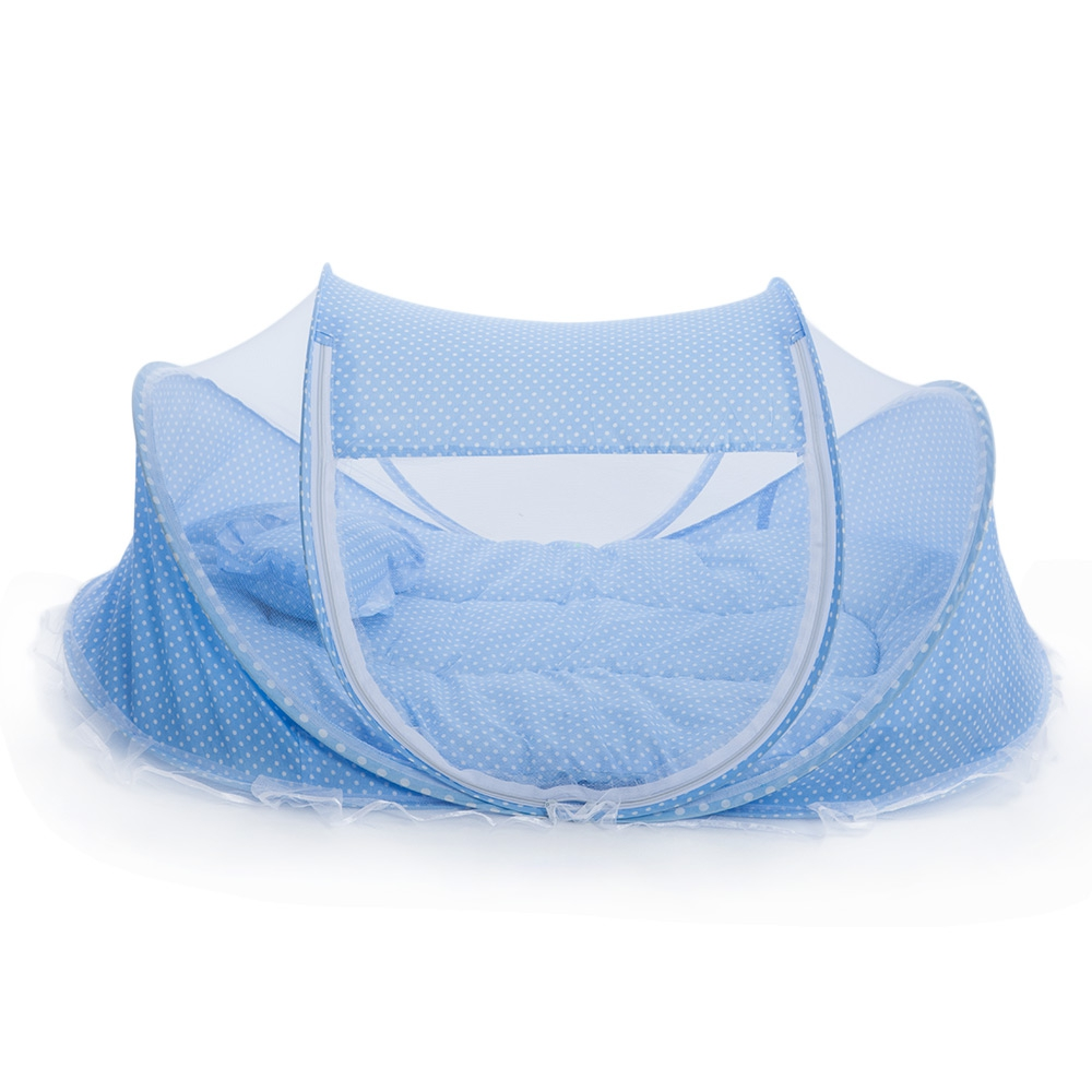4pcs/set Portable Type Kids Comfortable Babies Travel Bed Sealed Mosquito Net Mattress Pillow Mesh Bag
