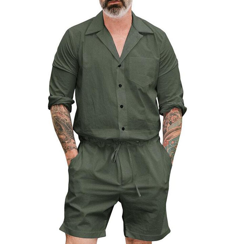 Plus Size Summer 2019 Men Set Button Rompers Jumpsuit Fashion Sumple Funny Streetwear Vintage Casual Summer Men Set