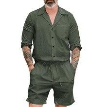 25ff8fb8c77 Plus Size Summer 2019 Men Set Button Rompers Jumpsuit Fashion Sumple Funny  Streetwear Vintage Casual Summer