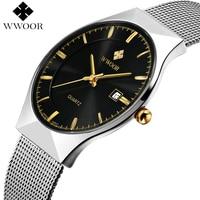 Men Watches 2016 Luxury Brand 50m Waterproof Ultra Thin Clock Male Silver Steel Strap Casual Quartz