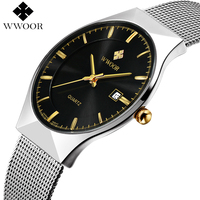 Men Watches 2016 Luxury Brand 50m Waterproof Ultra Thin Clock Male Silver Steel Strap Casual Quartz