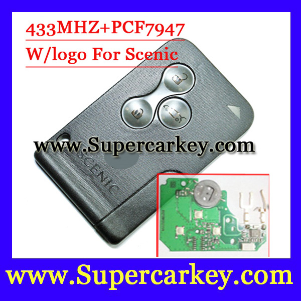 Shipping free 1pcs Remote Key Fob 3 Button 433MHz PCF7947 for Renault Scenic 2003 2008