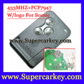 Shipping free (1pcs) Remote Key Fob 3 Button 433MHz PCF7947 for Renault Scenic 2003-2008