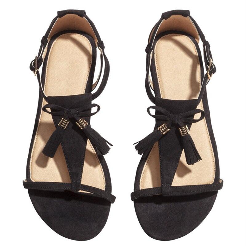 0d273075908 Summer Womens Sandals Flat Shoes Black Women Fringe Sandals Summer Shoes  Flat Sandals Tassel Women Shoes Ladies Sandals K 100-in Women s Sandals  from Shoes ...