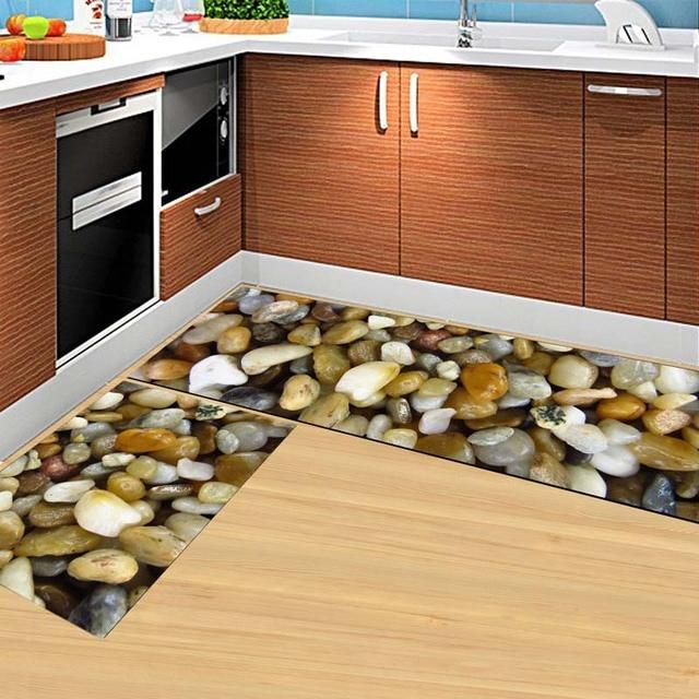 2PCS Modern Kitchen Mat Anti Slip Floor Rugs Living Room Balcony Bathroom Carpet Set Doormat
