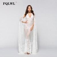 FQLWL Rocznika Pełna Biały Maksia Suknia Głębokie V Neck Floral Aplikacja Vestido De Novia Bodycon Koronkowa Sukienka Kobiety Hollow Out Party Dress