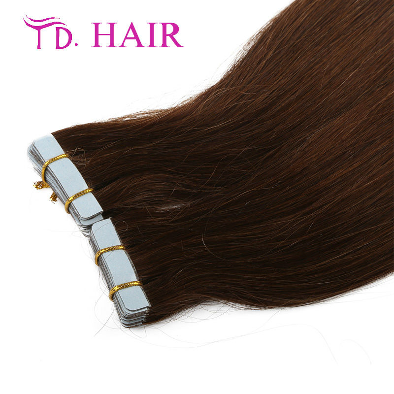 #4Cheap Tape Hair Extensions 20/40pcs 100% Thick Brazilian Human hair Dark brown Hair Beautiful Product Promotion on sale