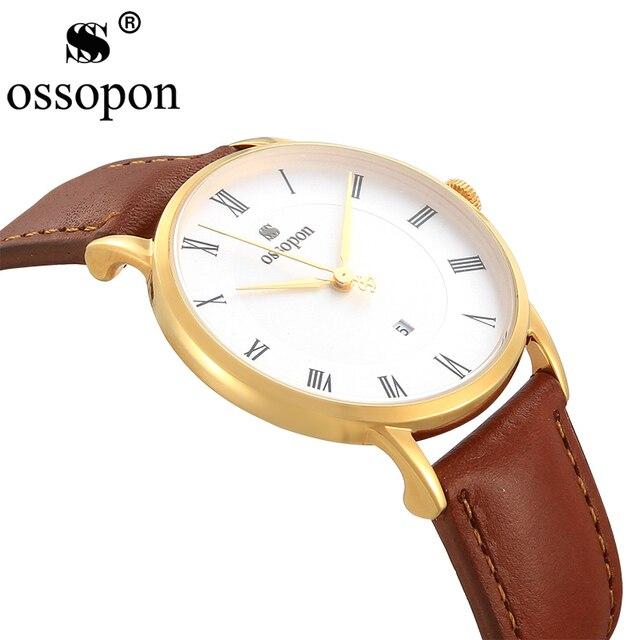 84f45a314bc56 OSSOPON Super Slim Watch Women Gold Watch Simple Famous Brand Brown Leather  Analog Calender Roman Numerals Best Quartz Watch