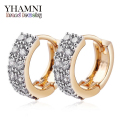 GALAXY Hot Sale Fashion Gold Plated Jewelry Double Half Band AAA Cubic Zircon Pave Hoop Earrings For Women YE063