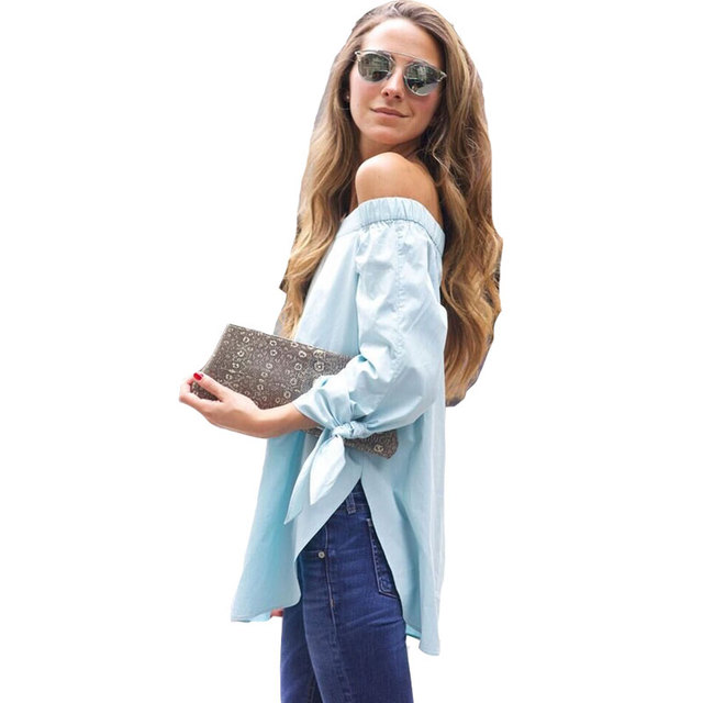 Womens Tops And Blouses Long Sleeve Off The Shoulder Knotted Blouse 2017 Elegant Loose Slash Neck Blue Summer Shirt Blouse Femme