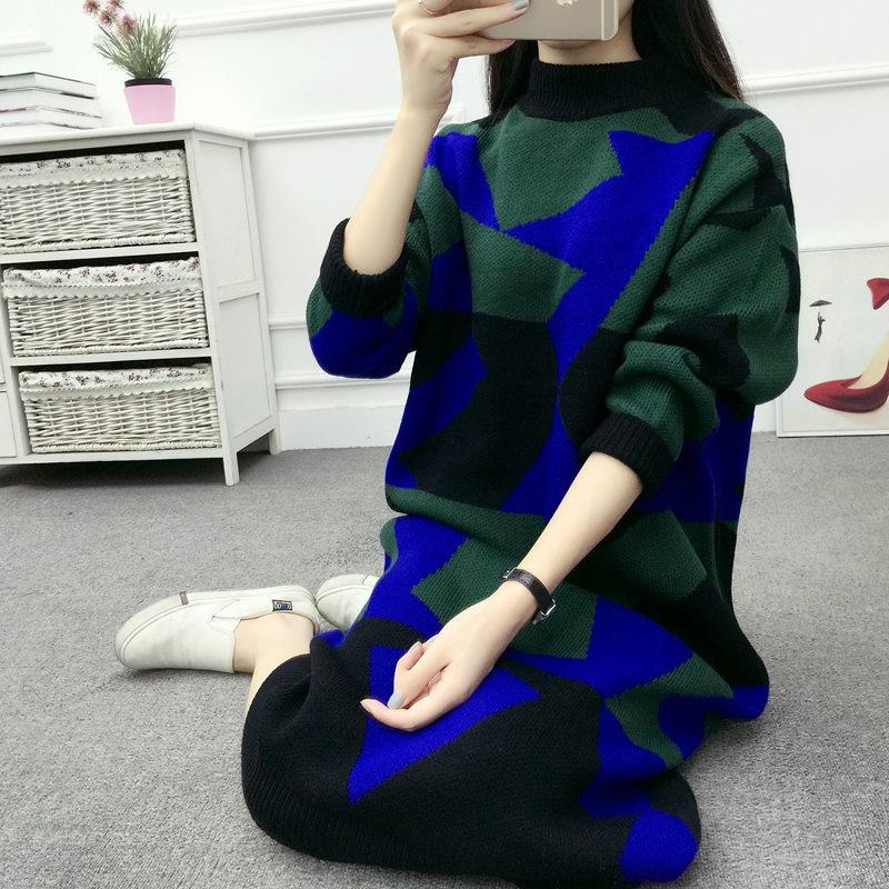 Nouvelle grande taille 4XL femmes pull pull Robe mode hiver Robe motifs géométriques Maxi Longue Robe tricotée Robe Longue C3825