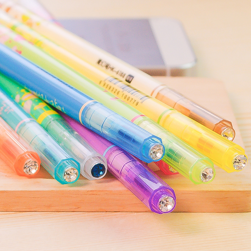EZONE Candy Color Highlight Pen Double Headed Fluorescent Pen Discoloration Mark Pen For Child Painting Graffiti School Supply in Highlighters from Office School Supplies