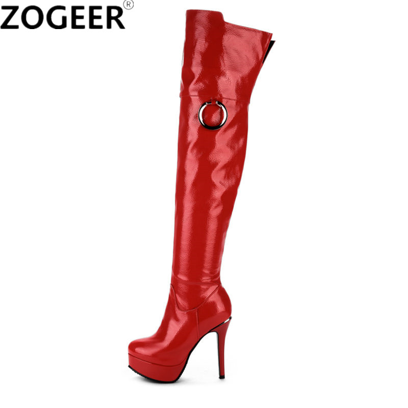 Plus size 48 Women Over Knee Boots Sexy Fetish Dance Nightclub Party Shoes High Heel Platform Women Red White Thigh High Boots jialuowei 20cm ultra high heel chunky heels platform zip buckle boots women dance party over knee fetish thigh high shoes