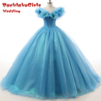 New Fashion Sky Blue Court Princess Ball Gown Long Evening Dress Bubble Sleeve Organza Lace Up