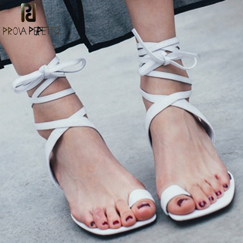 Prova Perfetto 2018 Summer Off White High Heels Shoe Laces Fashion Hollow Out Thong Sandal Women Ankle Strap High Heels Sandals prova perfetto design women gladiator sandals summer boots sexy chunky high heels hollow out strap sandal women pumps ankle boot