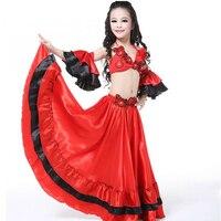 Thiết kế mới Kids Child Bra + váy + tay áo Belly quần áo nhảy múa đẹp Red trang phục khiêu vũ phù hợp với cho các vũ công hoặc bên chương trình với S/L