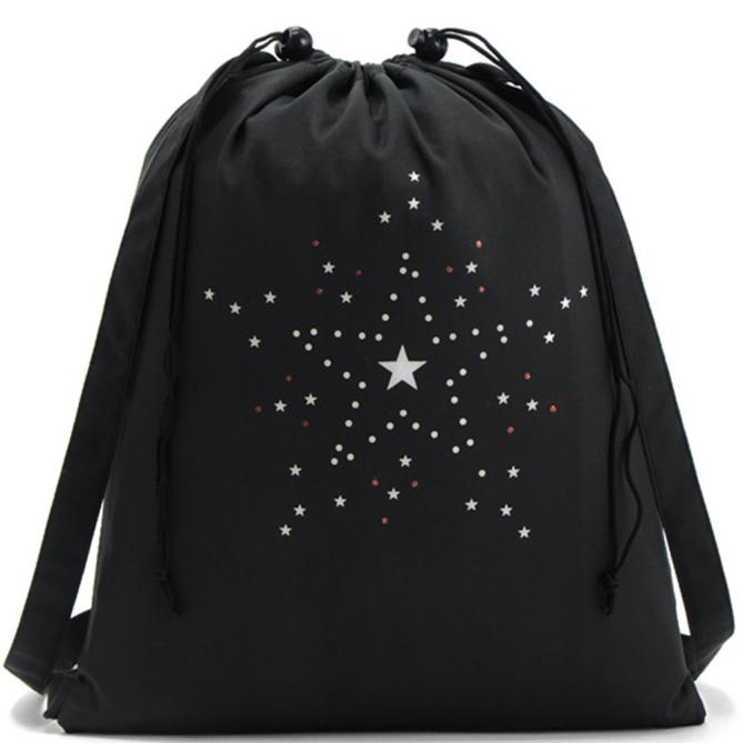 High Quality Drawstring Bags Travel Sports Shoe Dance Bag Unisex Travel Storage Backpack Black Printed Bag Mochila Feminina X