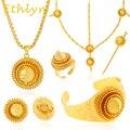 Etíope Ethlyn Grande ouro Amarelo conjuntos de jóias 24 k banhado a Ouro jóias cabelo 6 pcs define jóia nupcial Africano para etíope mulheres