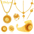 Ethlyn Big Yellow gold  Ethiopian jewelry sets 24k Gold plated hair jewelry 6pcs sets African bridal jewelry for Ethiopian women