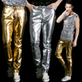 New Stage slacks 2016 new level of casual pants gold leather pants Slim Men pants Men's trousers yellow  Color 2