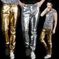 Nueva Etapa pantalones 2016 nuevo nivel de pantalones casuales pantalones pantalones Delgados de Los Hombres pantalones de cuero de oro de Color amarillo 2