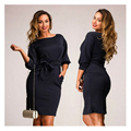 Fashion casual women dresses big sizes office bodycon Dress plus size Ruched Tunic Autumn dress o-neck women clothing XL-5XL