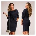 Moda casual mujeres vestidos tallas grandes Vestido ajustado más el tamaño de oficina Con Pliegues de la Túnica vestido de Otoño del o-cuello mujeres ropa XL-5XL