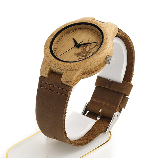 BOBO BIRD Wooden Watch Lovers Engrave Deer Bamboo Dial Quartz Wristwatch with Genuine Leather Band in Gift Box 3