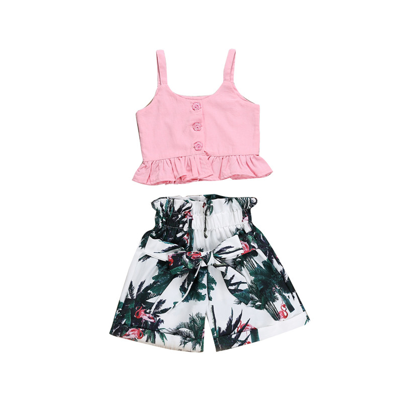 Pudcoco 2019 New Fashion Toddler Kids Baby Girls Clothing Pink Sleeveless Solid Tops Print Shorts 2Pcs Sets Clothes 2-7Y