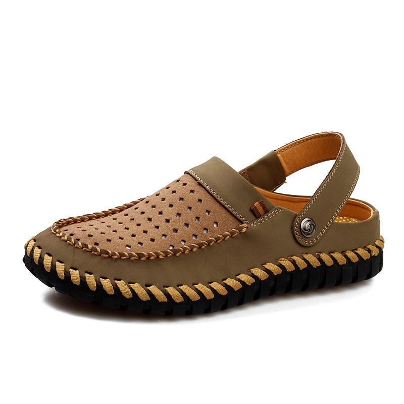 Men Sandals Back-Strap Beach-Shoes Handmade Male Fashion Summer Metal Rivet 1-Wears Cow-Nubuck