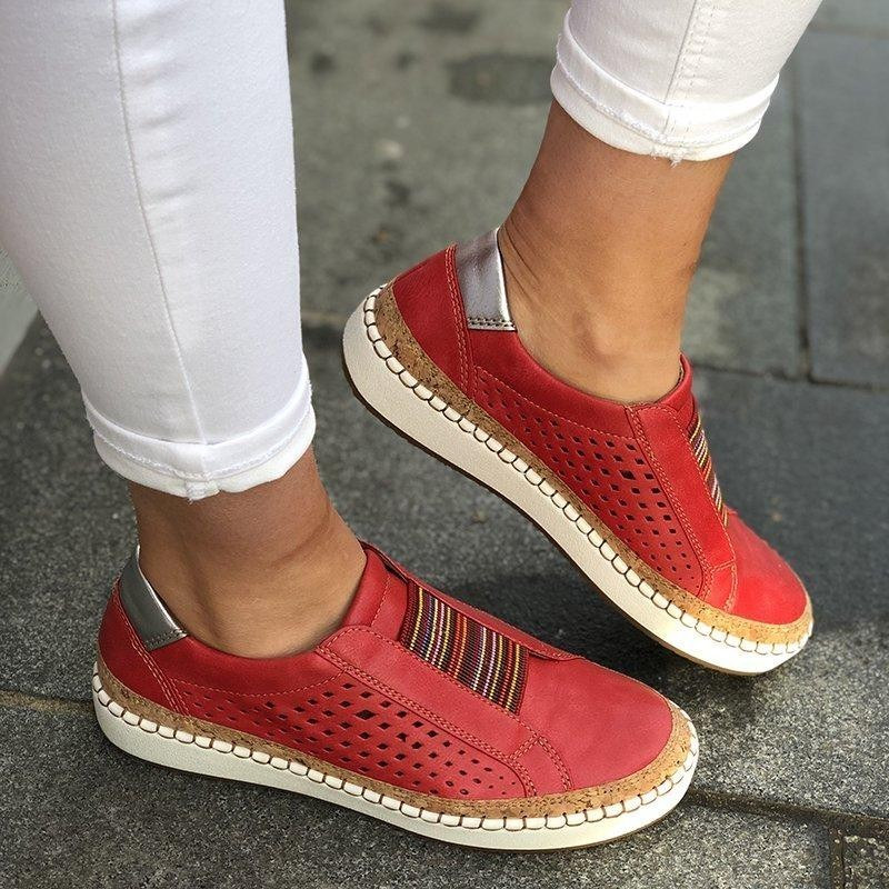 Hollow Out Women's Shoes Hand stitched Striped Breathable Elastic Band Casual Flat Suitable for Wide Leg Women's Sneaker|Women's Flats| - AliExpress