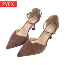 Korean Version Spring Summer 2019 Fashionable High-heeled Shoes Suede Thin-heeled Super sexy Pointed Women's Fine with sandals цена
