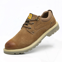 large size mens fashion breathable steel toe caps working safety shoes outdoors cow leather worker sneakers security boots male цены онлайн