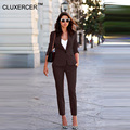 CLUXERCER Brand Womens Business Suits Two Pieces Rose Slim Blazer Set Ladies Office Wear Suit OL Formal Office Suit Work Pants