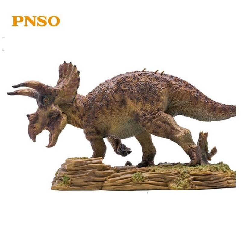 PNSO Triceratops With Pedestal Platform Dinosaur Mouth Can Open and Close Classic Toys For Boys Animal
