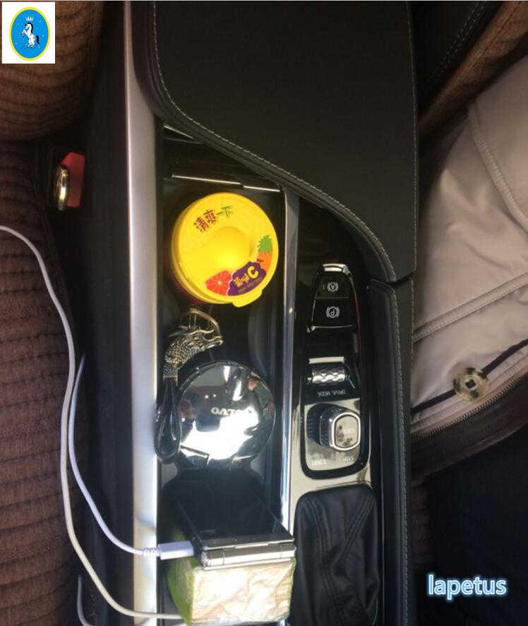 Lapetus Средний контрольный прибор/Украшение коробки подлокотника литья Накладка для Volvo XC90 2016 2017 2018 2019 Нержавеющаясталь