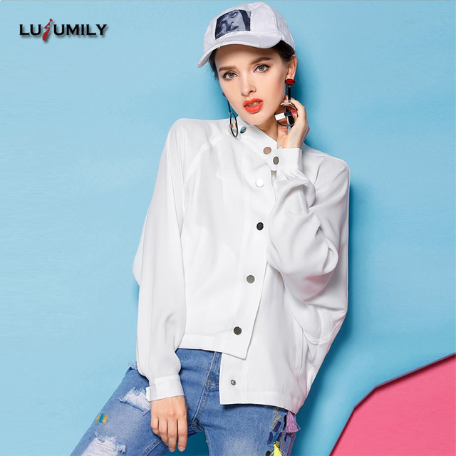 4825b85dfb85b Lusumily College Basic Bomber Jacket Women Bf Style Stand Collar Print  Fashion Casual Jackets Plus Size 4xl Windbreaker Jacket