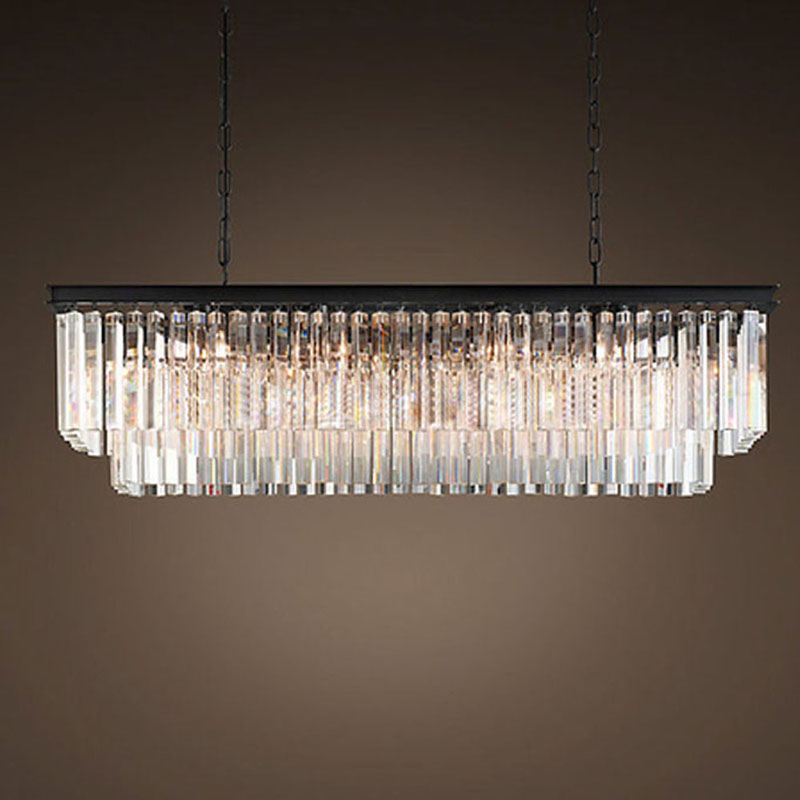American Country Crystal Chandelier Living Room Restaurant Bar Counter Cafe Lighting Nordic Bar Rectangular rh Chandelier creative nordic american country vintage hemp wrought iron chandelier living room restaurant bar cafe chandelier