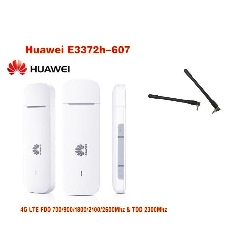 Nouveauté déverrouillage d'origine HUAWEI E3372 E3372h-607 150 Mbps 4G LTE Modem USB double Port d'antenne prise en charge de toutes les bandes (plus antenne)