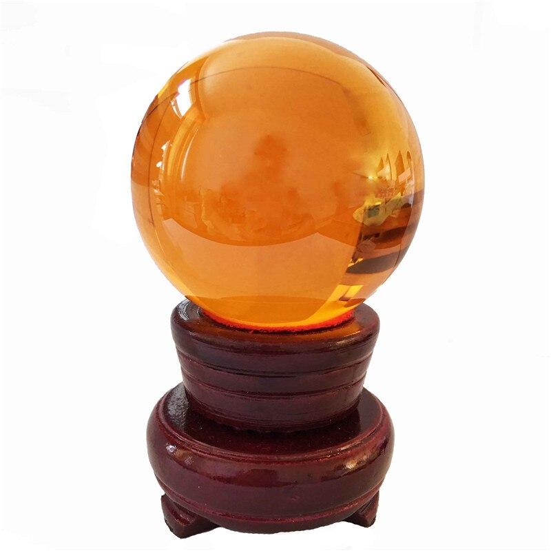 110mm boule de cristal ambre sphère + support de cristal verre Feng Shui boule de cristal boule de guérison cadeau pour la nouvelle maison livraison gratuite