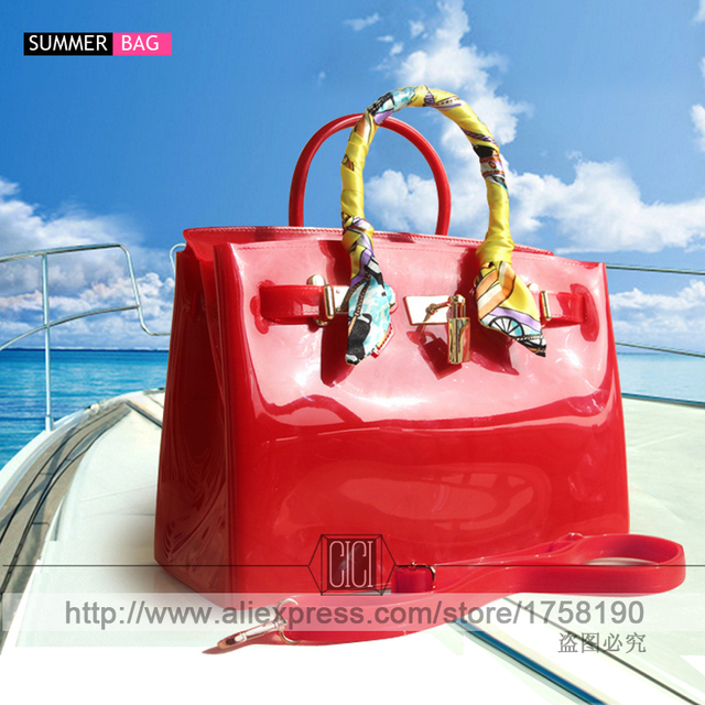 New Luxury Candy Color Waterproof PVC Jelly Handbags Bolsa Totes Purses Women Shoulder Messenger summer beach Bags jelly bag