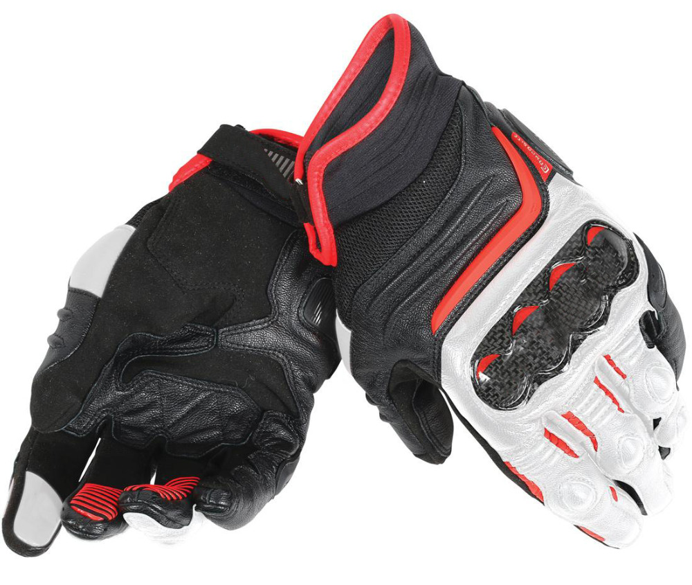 free shipping 2018 Dain Carbon D1 Short ST Genuine Leather Gloves for Motorcycle Moto GP Sports Racing Black/White/Lava Red lava d1 vnl